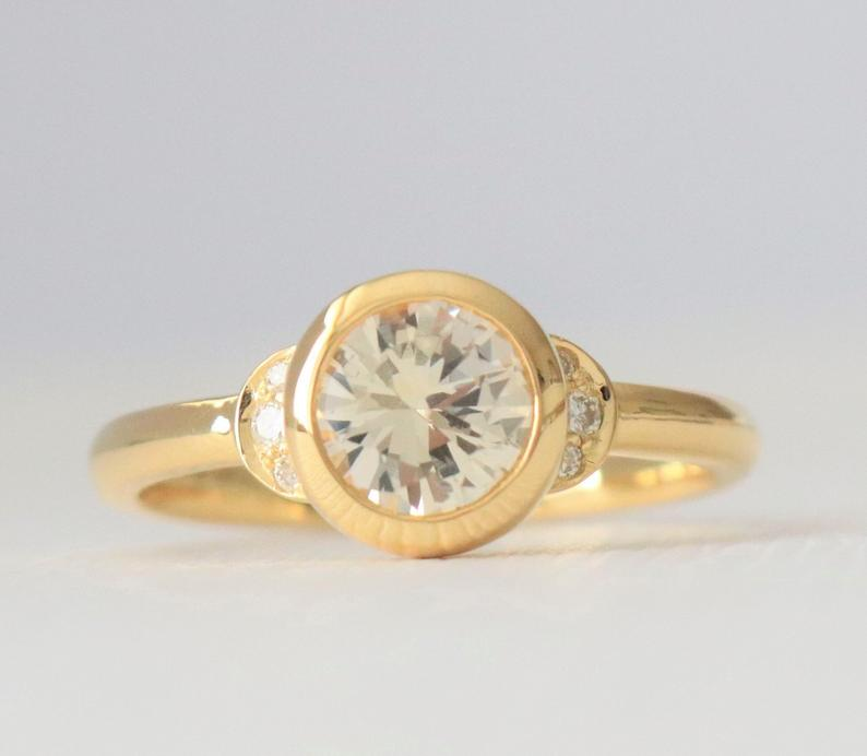 Round Yellow Sapphire Bezel Ring in 18K Yellow Gold