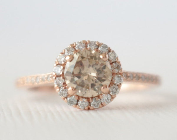 Round Champagne Diamond Halo Engagement Ring in 14K Rose Gold Design by Studio 1040