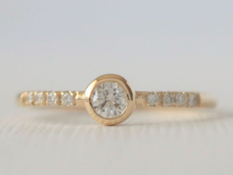 Solitaire Diamond Bezel Ring in 14K Yellow Gold Design by Studio 1040