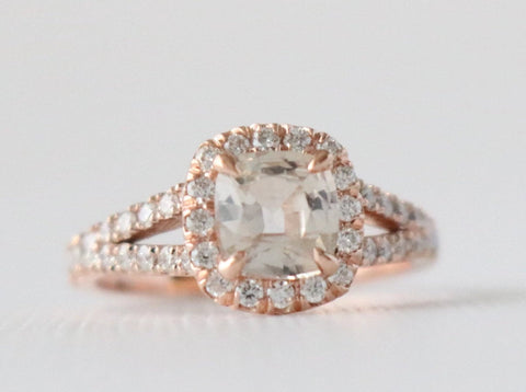 1.12 Ct Cushion Peach Sapphire Diamond Halo Split Shank Engagement Ring in 14K Rose Gold