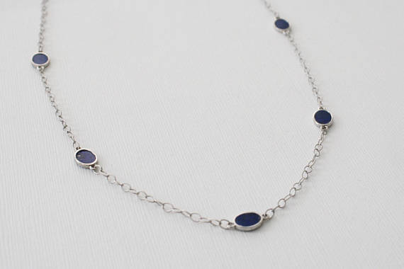 Lapis Lazuli Oval Station Necklace in 14K White Gold