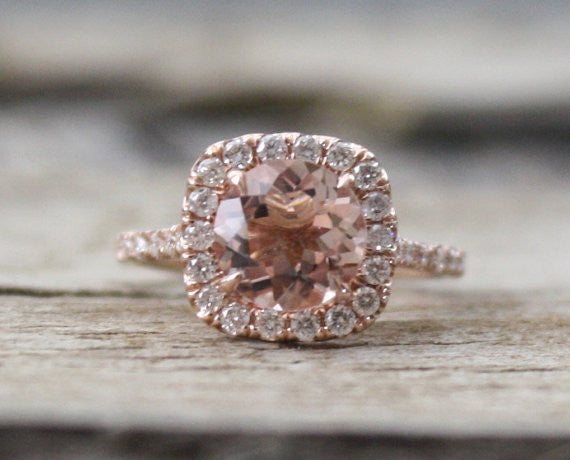Morganite Engagement Ring in 14K Rose Gold Halo Diamond Setting