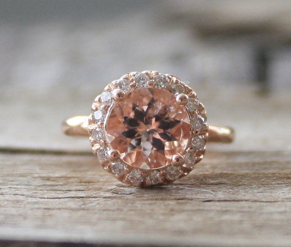 Diamond Morganite Halo Engagement/Anniversary Ring in 14K Rose Gold
