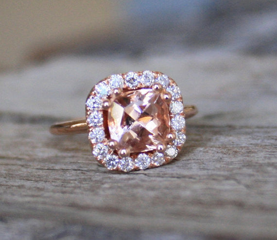 1.70 Cts. Peach Champagne Cushion Morganite Diamond Halo Ring in 14K Rose Gold