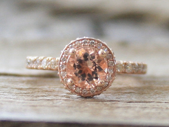 Diamond Morganite Halo Engagement Ring in 14K Rose Gold