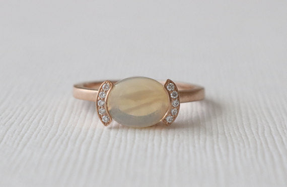 Opal Half Bezel Diamond Ring in 14K Rose Gold