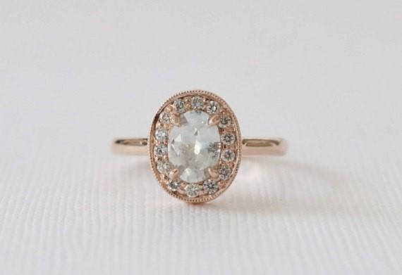 Oval White Sapphire Diamond Halo Ring in 14K Rose Gold