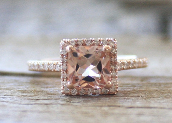 Peachy Pink Cushion Cut Morganite Diamond Halo Ring in 14K Rose Gold