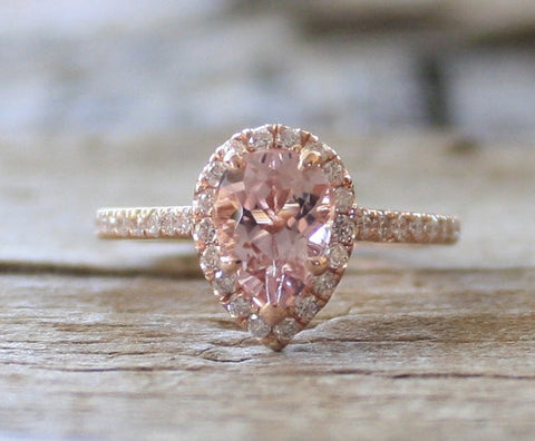 1.0 Ct. Pear Cut Morganite Diamond Halo Ring in 14K Rose Gold