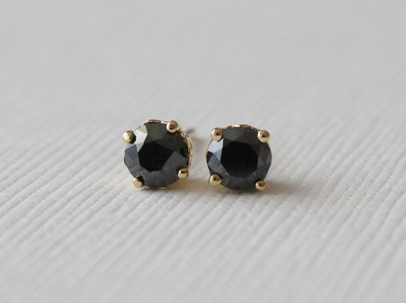 Rose Cut Black Diamond Stud Earrings in 14K Yellow Gold