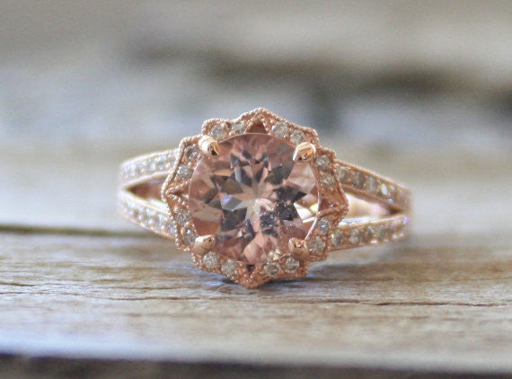 Round Peach Morganite Split Shank Diamond Engagement Ring in 14K Rose Gold