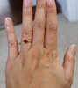 18K Oval Ruby Bezel Ring in Hammered Gold - July Birthstone