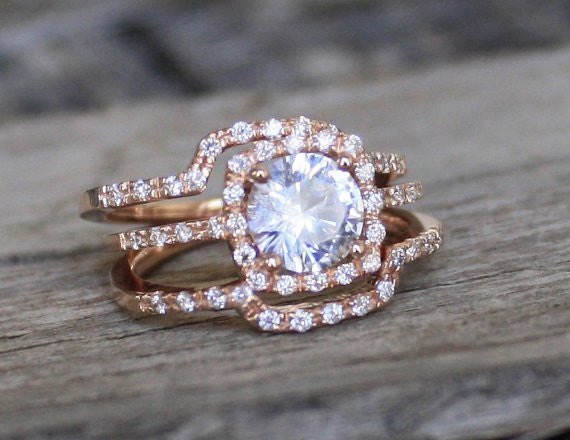 SET - 3 Ring White Sapphire Cushion Halo Diamond Engagement in 14K Rose Gold