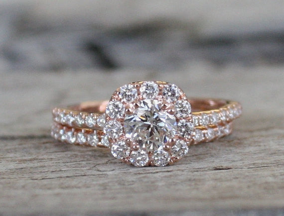 SET - Diamond Halo Engagement Ring in 14K Rose Gold