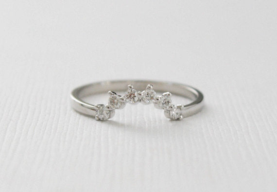 Tiara Style Curved Diamond Ring in 14K White Gold