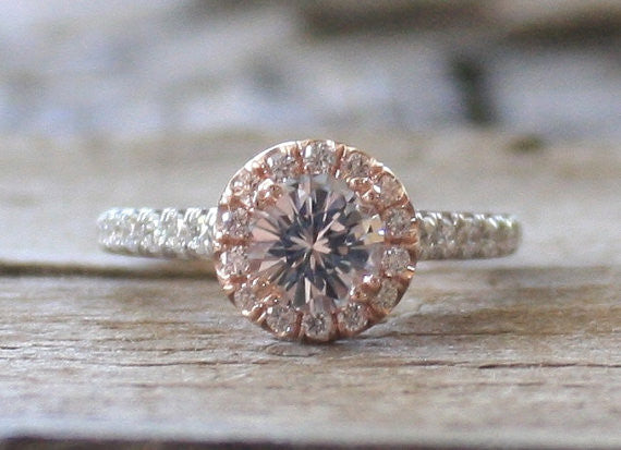 White Sapphire Diamond Halo Ring in 14K Rose and White Gold