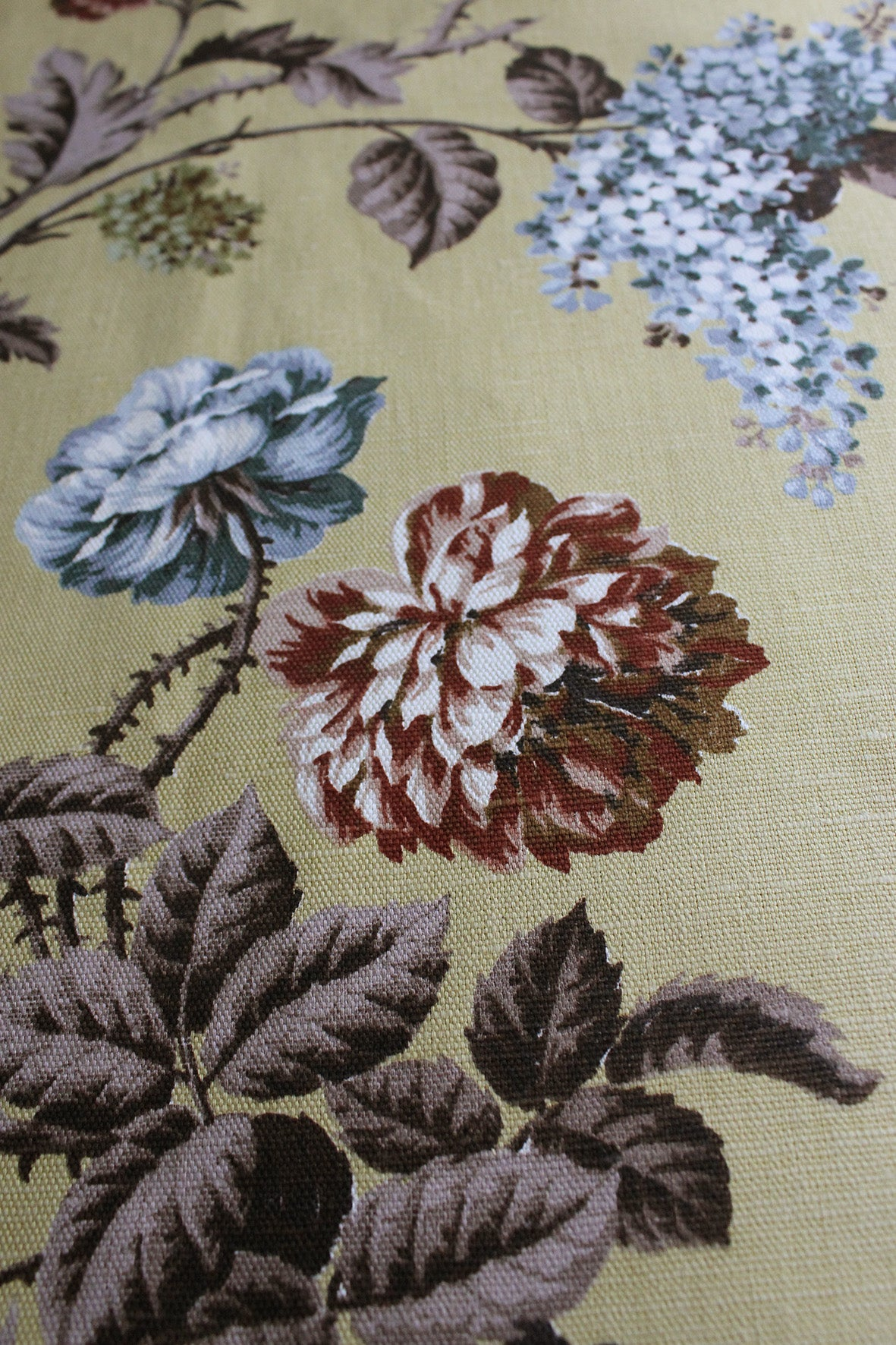 Beautiful Floral Branches on a Ground of Pale Chartreuse - VIntage Linen Union