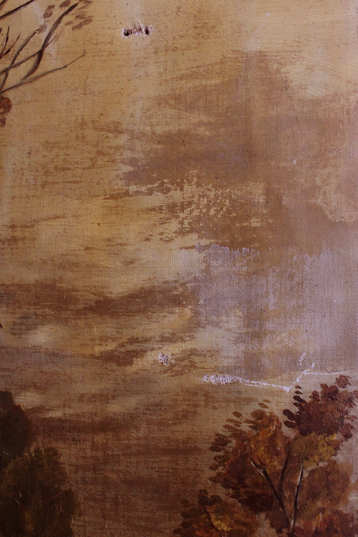 Perfectly Imperfect Old Oil Painting - Birch