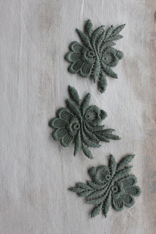 Antique Decorative - dark sage motifs