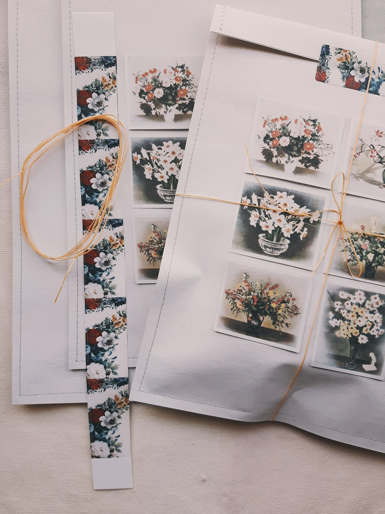 Linen Garden gift bags - Printed Floral Cards