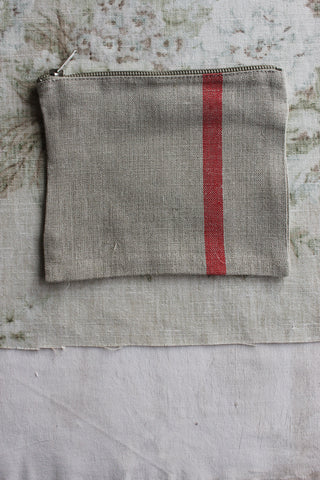 Flax Linen Purse - Red Stripe