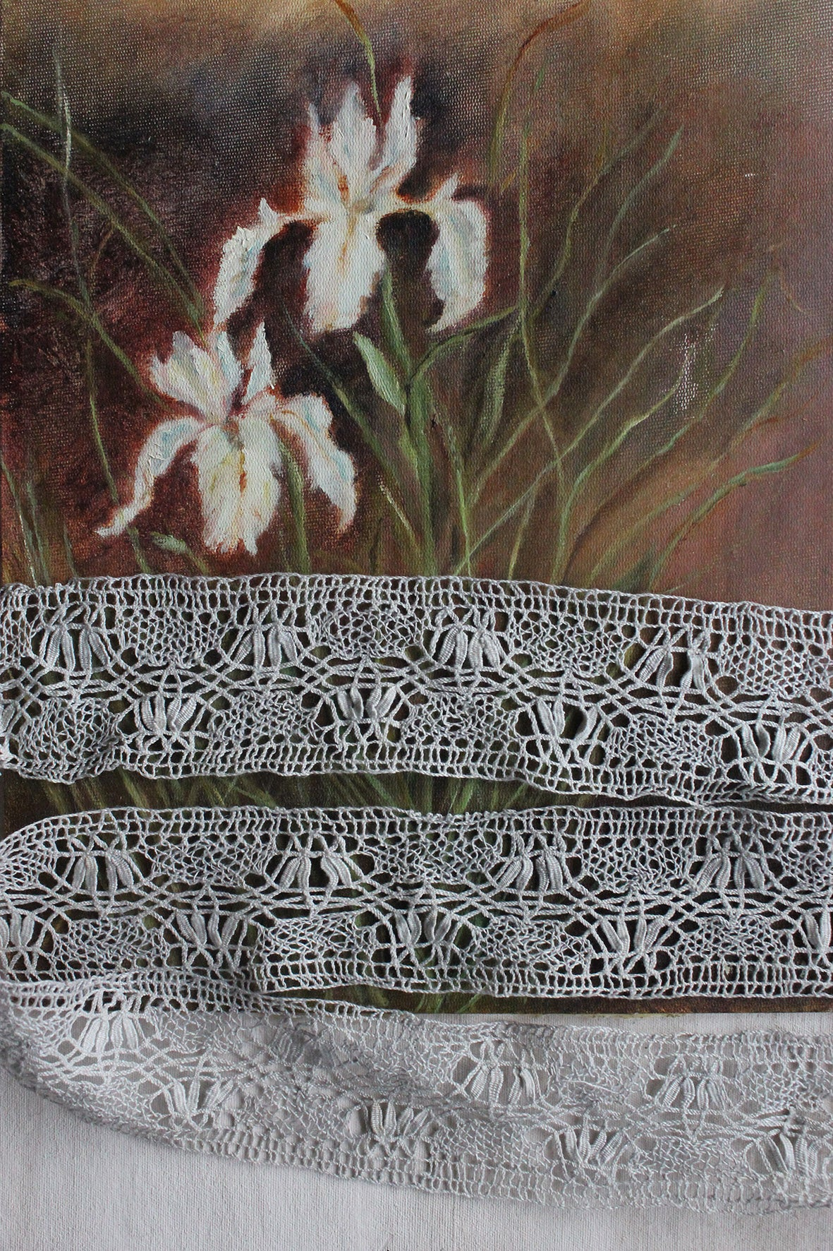 Antique Length of Hand Made Bobbin Lace Hand Dyed Pearl Grey