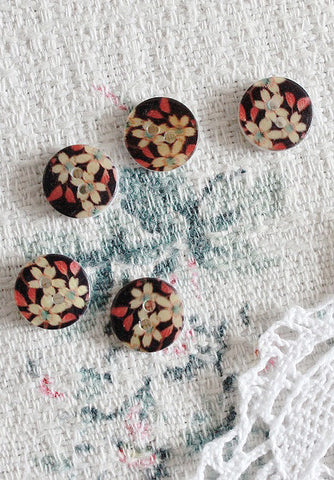 Floral mother of pearl buttons - black, red and gold