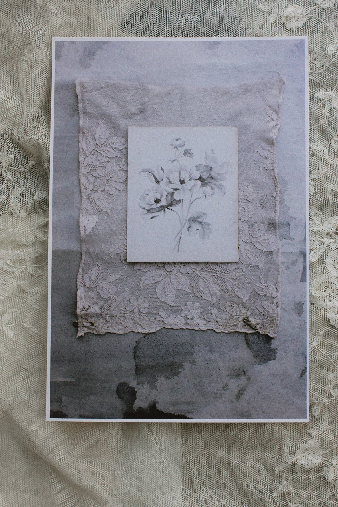 "Pin Board Prints from The Linen Garden Studio ~ ""Lace & Grey"" collection"