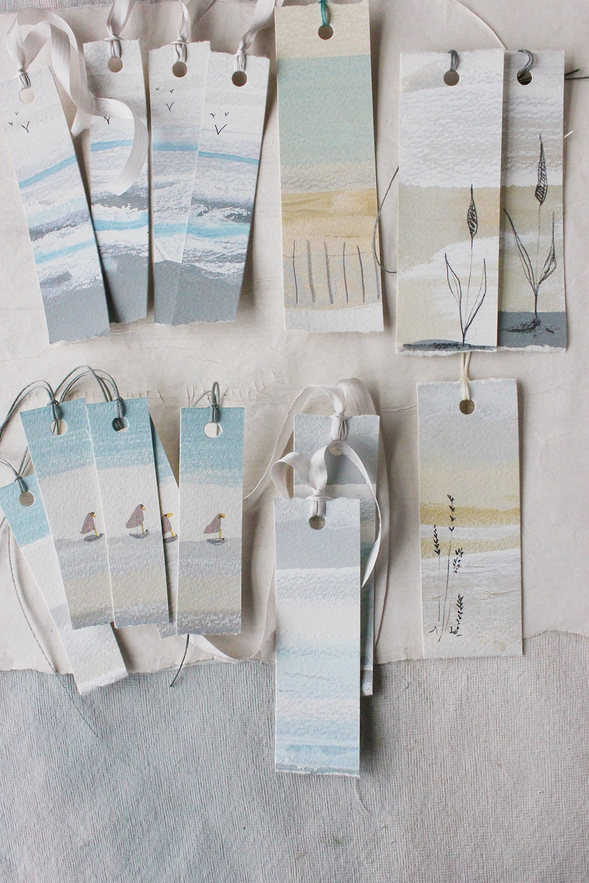 """The Shoreline"" Hand Painted Tags (set of 15)"