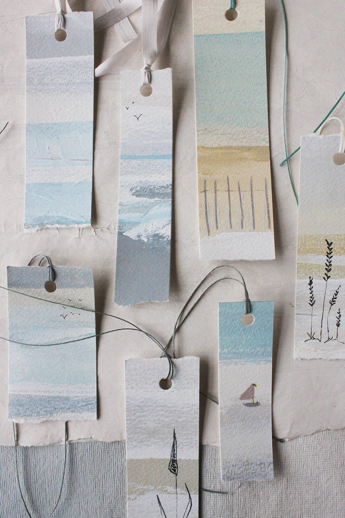 """The Shoreline"" Hand Painted Tags (set of 7)"