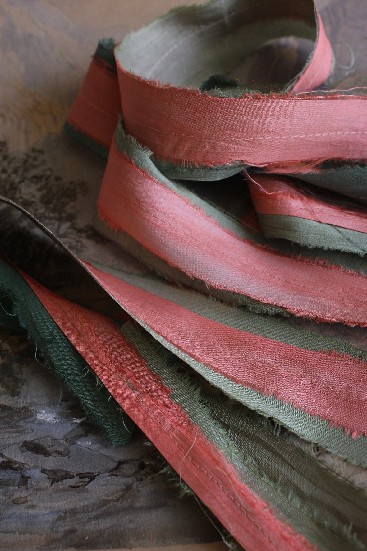 THE RIBBON PATH - Delicate Layered Silk Ribbon - GERANIUM