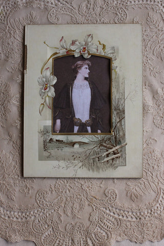 Old Victorian Photograph Mount with Studio Print - Orchid