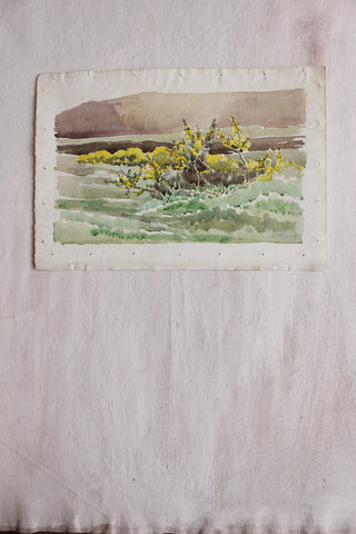 Old Watercolour - Landscape on Hand Made Paper (eighteen)