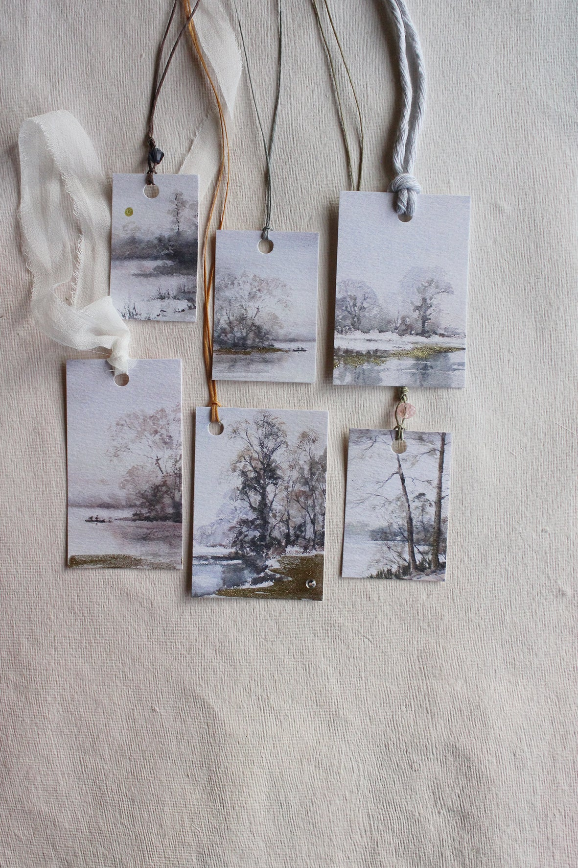 WINTER LAKESIDE LANDSCAPES - TAGS (set of 12)