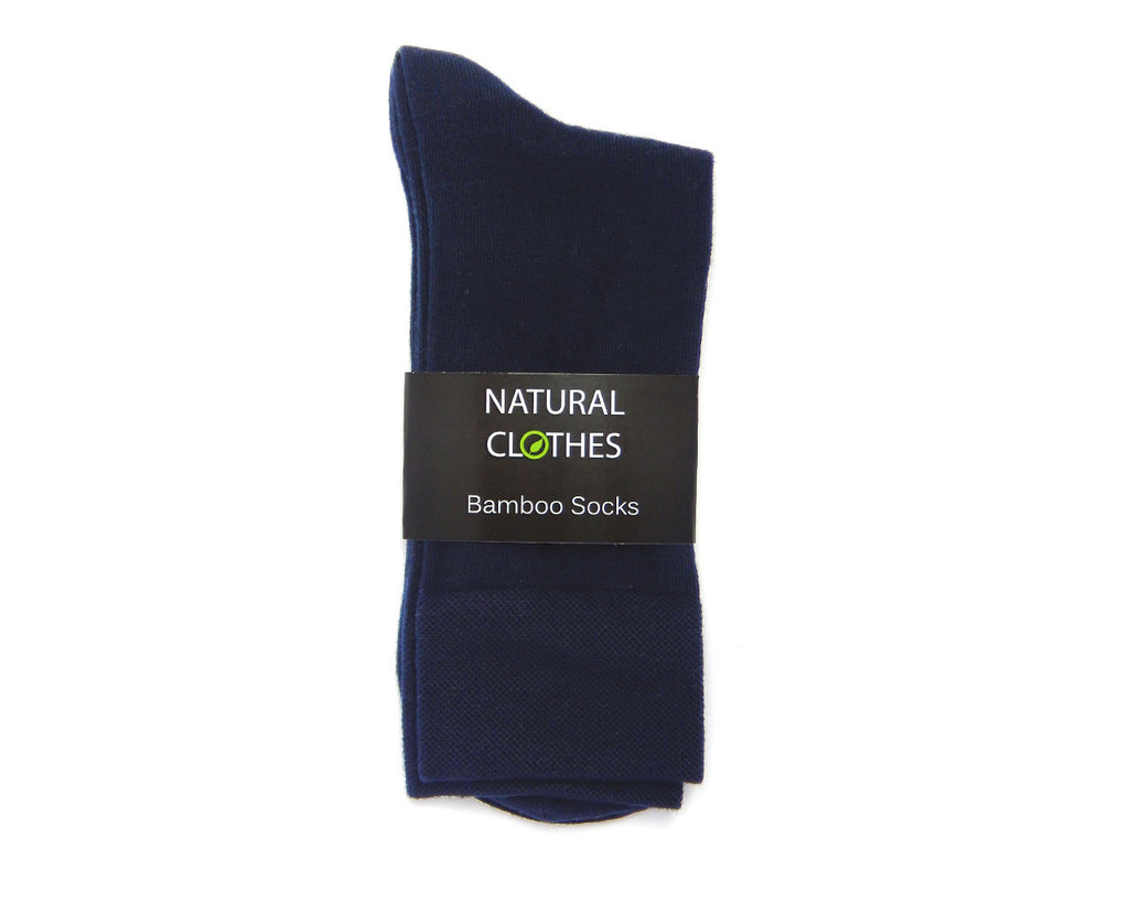 Bamboo Mid-Crew Socks MBS05 (Navy Blue) - Natural Clothes Bamboo Premium Clothing Company