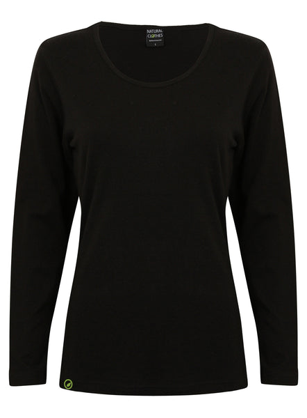 Bamboo Long Sleeve Top Black - Natural Clothes Bamboo Clothing & Accessories for Men & Women