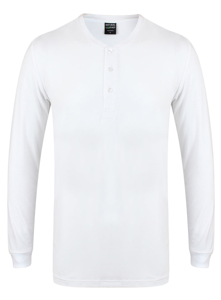 Bamboo Henley Shirt 240gsm (White) - Natural Clothes Bamboo Premium Clothing Company