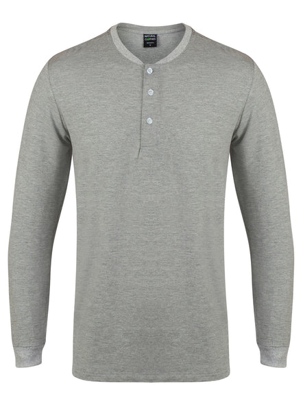Bamboo Henley Shirt Grey - Natural Clothes Bamboo Clothing & Accessories for Men & Women