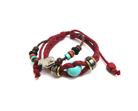 Ethnic Bracelet Turquoise Bead - Natural Clothes Bamboo Clothing & Accessories for Men & Women