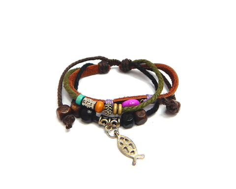 Ethnic Bracelet Pink Bead - Natural Clothes Bamboo Clothing & Accessories for Men & Women