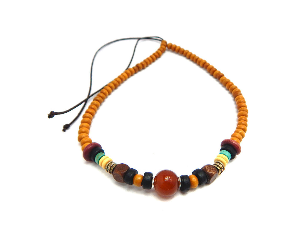 Ethnic Necklace Moonstone Bead - Natural Clothes Bamboo Premium Clothing Company
