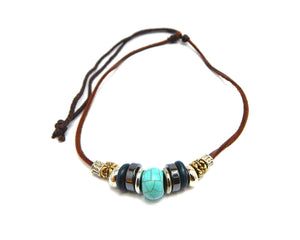 Ethnic Necklace Turquoise Bead - Natural Clothes Bamboo Clothing & Accessories for Men & Women