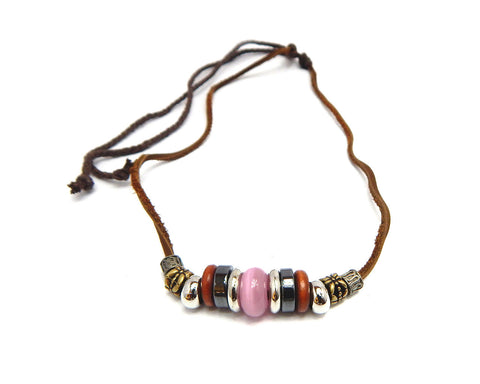 Ethnic Necklace Pink Bead - Natural Clothes Bamboo Clothing & Accessories for Men & Women