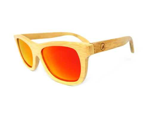 Bamboo Sunglasses Red Mirror BSN03 - Natural Clothes Bamboo Clothing & Accessories for Men & Women