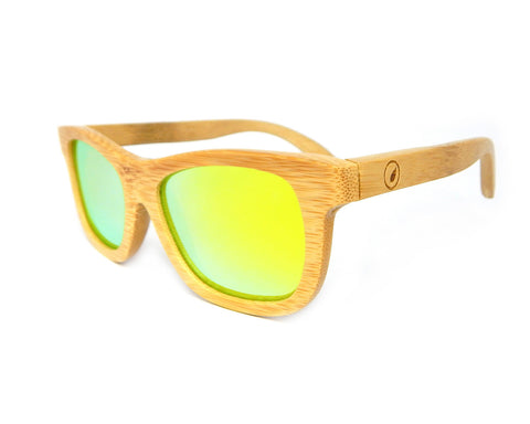 Bamboo Sunglasses Yellow Mirror BSN02 - Natural Clothes Bamboo Clothing & Accessories for Men & Women