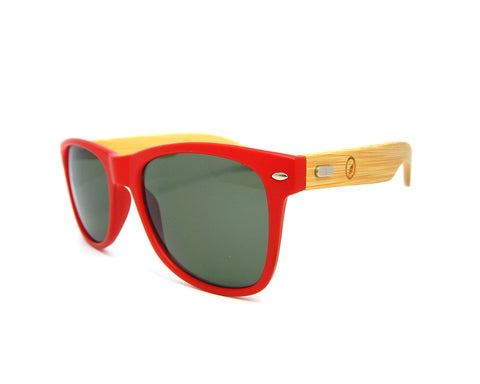 Bamboo Sunglasses Matte Red BSW05 - Natural Clothes Bamboo Clothing & Accessories for Men & Women