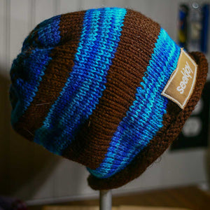 Adult Crochet Hat - Blue/Brown Slouchy
