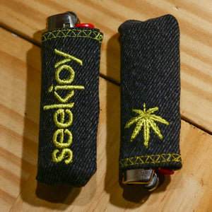 Upcycled Lighter Sleeve - Yellow on Black - Cannabis Leaf
