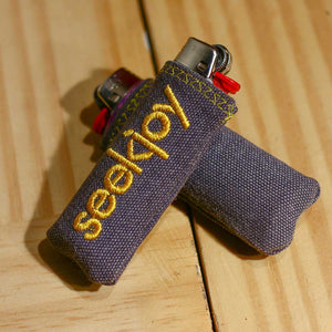 Upcycled Lighter Sleeve - Yellow on Grey Duck