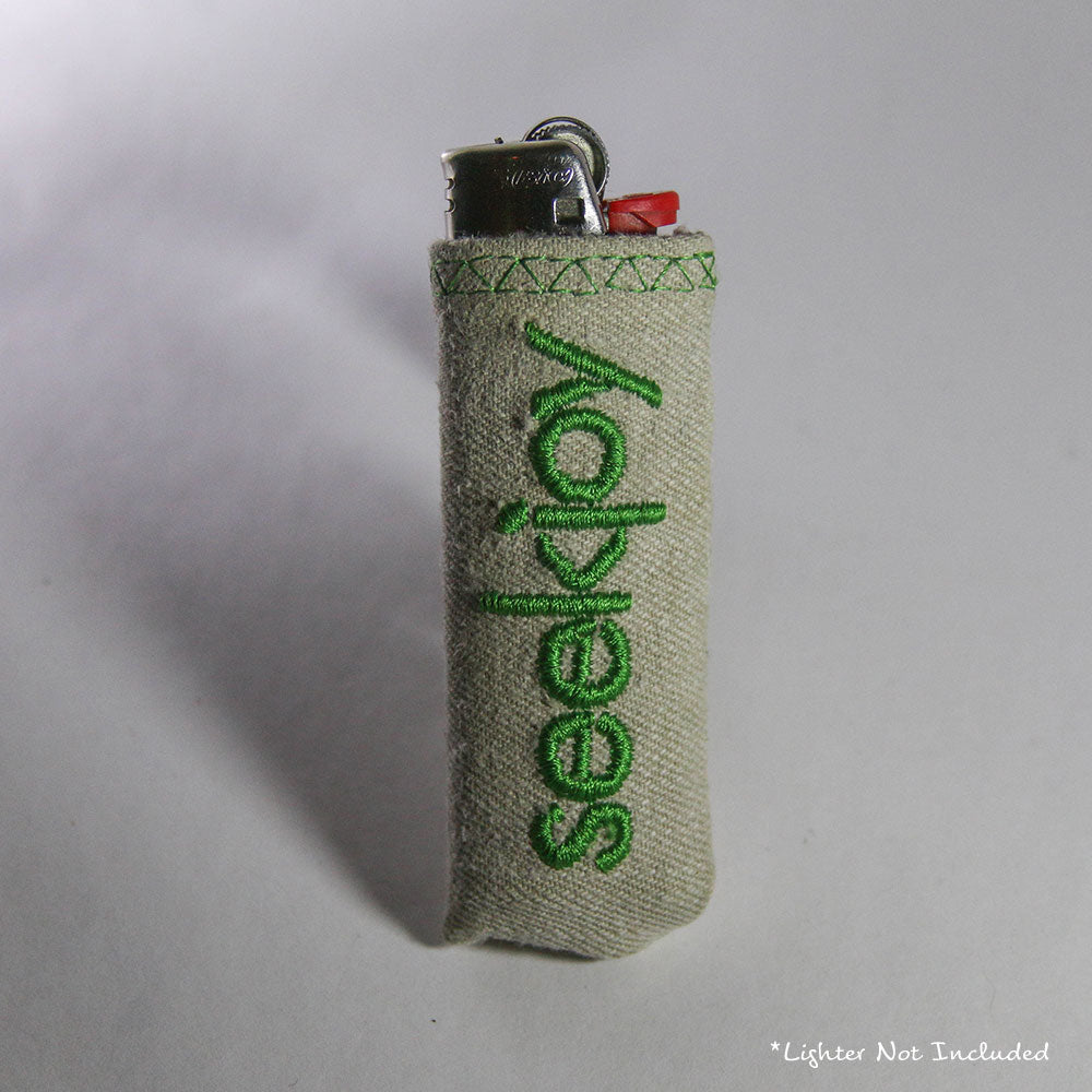Upcycled Lighter Sleeve - Green on White